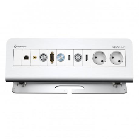 Kindermann CablePort desk² 6-fach QuickSelect 2.0, Alu