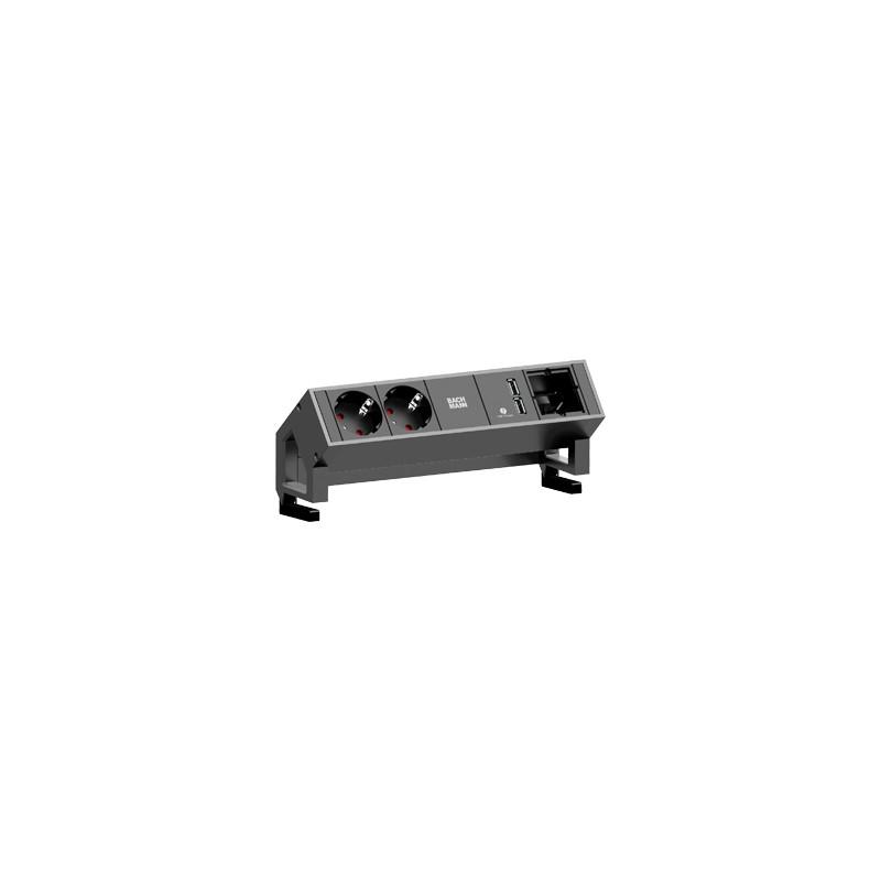 bachmann desk 2 mit usb charger farbe inox medientechnik hamburg onlineshop. Black Bedroom Furniture Sets. Home Design Ideas