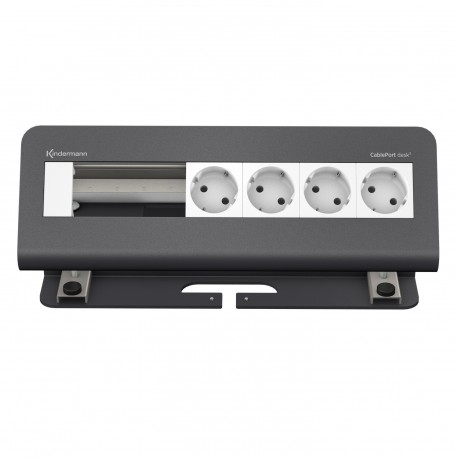 Kindermann CablePort desk² 6-fach, 4x Strom, grau