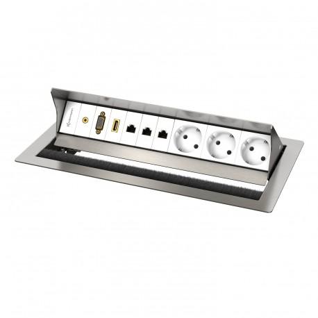 Kindermann CablePort standard² 6-fach, 3 x Strom, Edelstahl