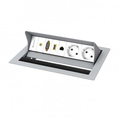 Kindermann CablePort standard² 4-fach, 2 x Strom, grau