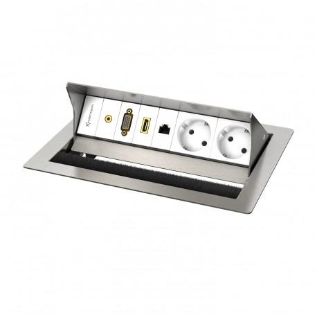 Kindermann CablePort standard² 4-fach, 2 x Strom, Edelstahl