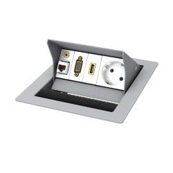 Kindermann CablePort standard² 2-fach, 1 x Strom, Edelstahl