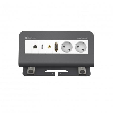 Kindermann CablePort desk² 4-fach konfektioniert, grau