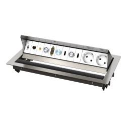 Kindermann CablePort standard² 6-fach für QS 3.0 Tischeinbaugehäuse