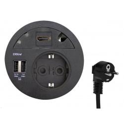 EVOline Circle80 in schwarz inkl. Verschluss mit Multimediaeinsatz HDMI