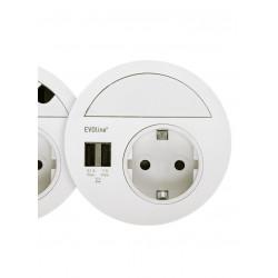EVOline Circle80 in weiß inkl. geschlossenem Verschluss, Doppel USB A