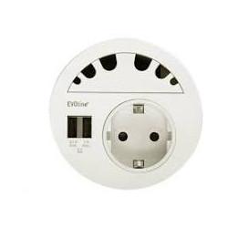 EVOline Circle80 in weiß inkl. Verschluss mit 6 Kabeldurchführungen, Doppel USB A