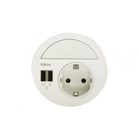 EVOline Circle80 in weiß inkl. Verschluss mit Multimediaeinsatz, USB 3.0