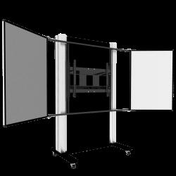 """Manuell höhenverstellbares Pylonensystem mit zwei Seitenflügel für Displays von 65"""" bis 86"""""""